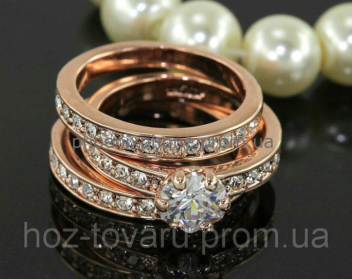 Шикарный комплект из трех колец с кристаллами Swarovski, покрытый золотом (102460) 17.5