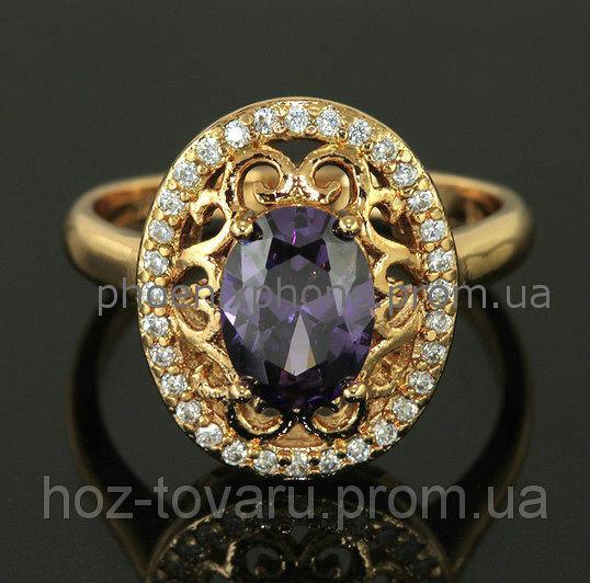 """Прелестное кольцо """"Феофания"""" с фианитами, покрытое золотом(118171)"""