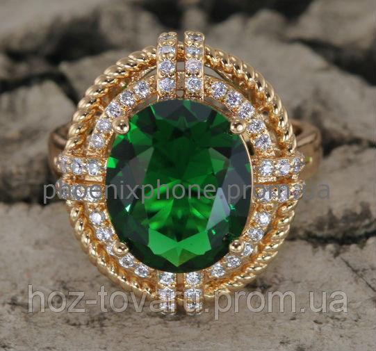 Милое кольцо с ярким фианитом, покрытое золотом (130441)