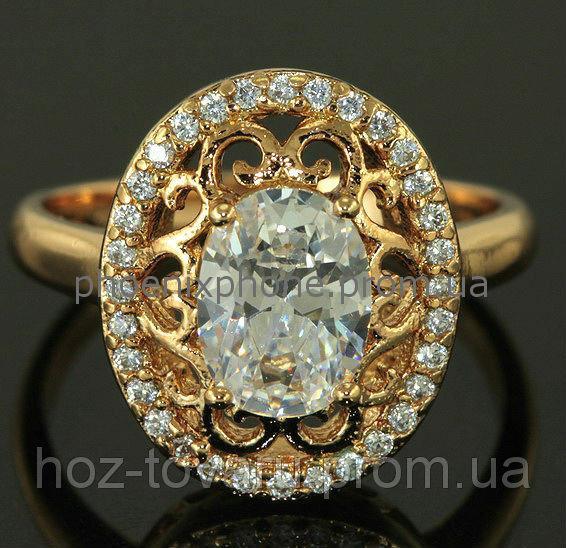 """Кольцо """"Феофания"""" с яркими фианитами, покрытое золотом(118170) 16.5"""