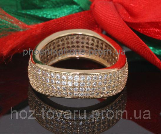 Богатое кольцо с множеством фианитов, покрытое золотом (132580) 18