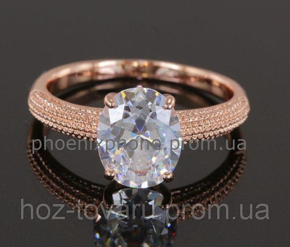 Богатое кольцо с кристаллом Swarovski, покрытое золотом (108820) 17.5