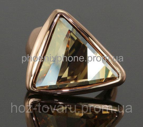 Стильное кольцо с кристаллом Swarovski, покрытое золотом (109011) 18