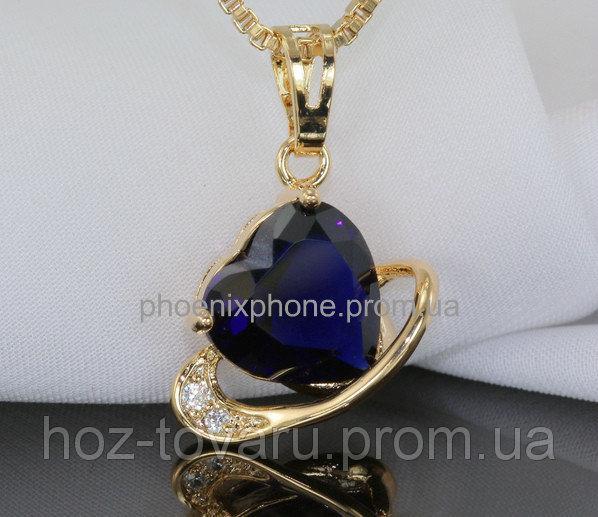 Милый кулон - сердце с фианитами, покрытые золотом (323331)