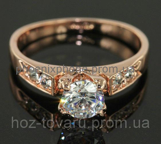 """Кольцо """"Изабелла"""" с кристаллами Swarovski, покрытое золотом(102370)"""