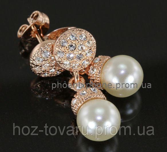 Шикарные серьги с жемчугом и кристаллами Swarovski, покрытые золотом (203450)
