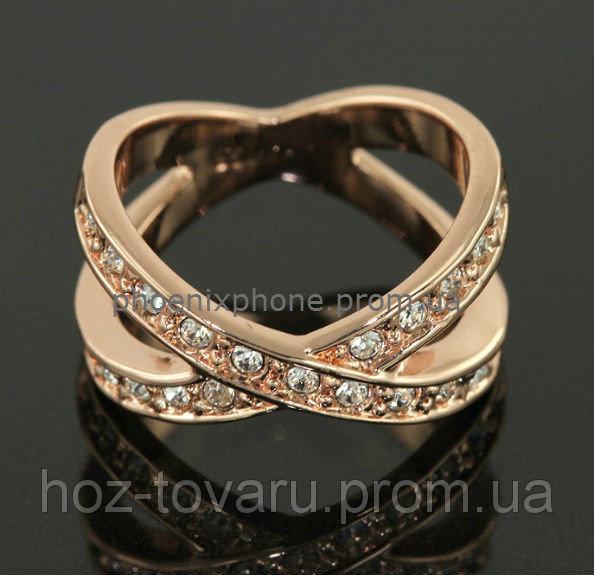 Интересное кольцо с кристаллами Swarovski, покрытое слоями золота (102590)