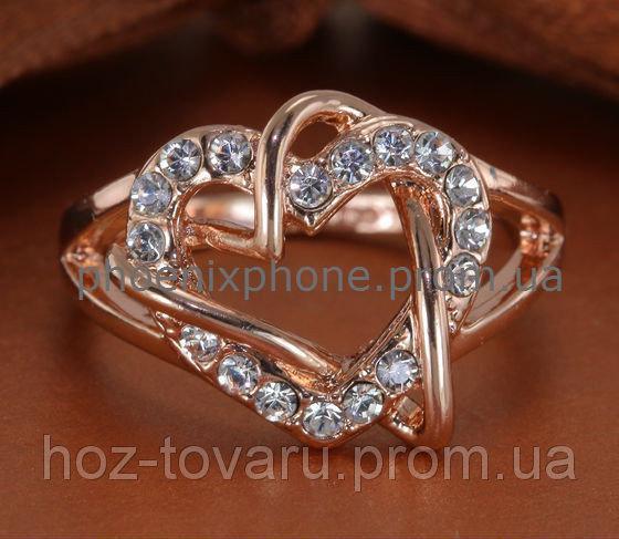 Кольцо в форме сердца с кристаллами Swarovski, покрытые слоями золота (108580) 16.5