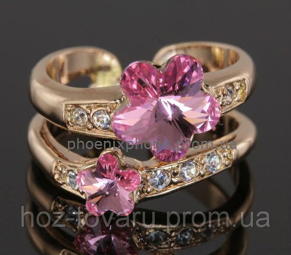 Интересное кольцо с красивыми кристаллами Swarovski, покрытые золотом (108641) 17