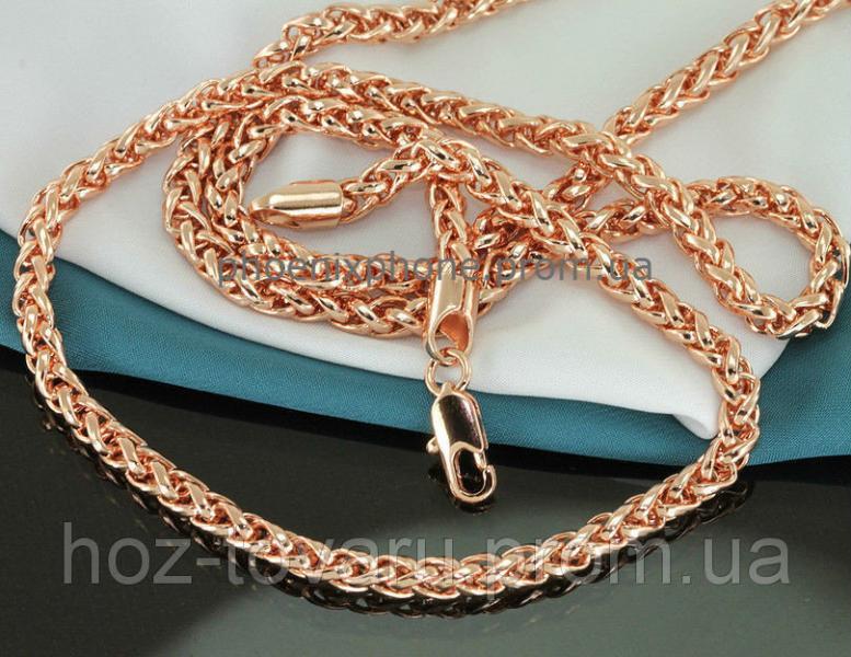 Видная цепочка, с красивым плетением, покрытая золотом (40959) Длина 550 мм, ширина 4 мм