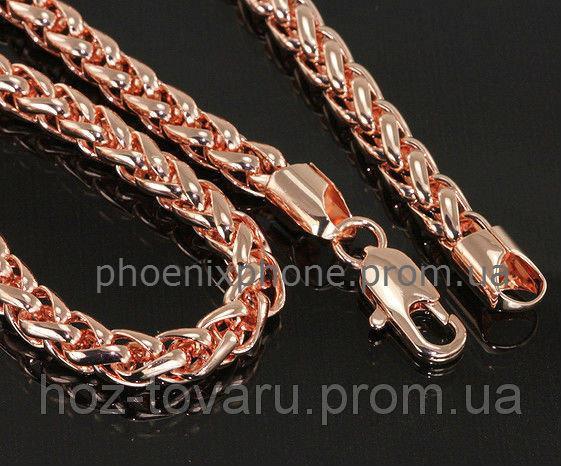 Солидная цепь, сложного плетения, покрытая слоями золота (40927) Длина 605 мм, ширина 7 мм