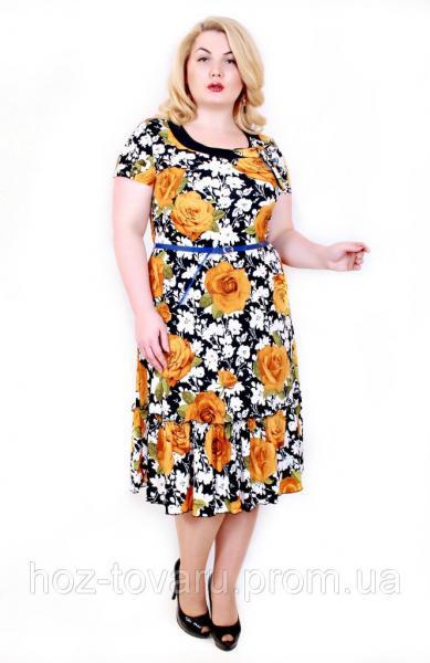 Платье Тюльпан крупная роза желтый