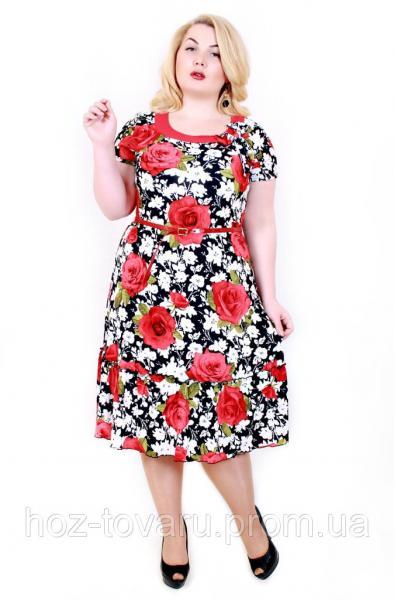 Платье большого размера Тюльпан крупная роза красный