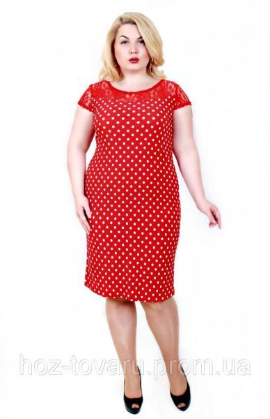 Платье Мария мелкий горох красный