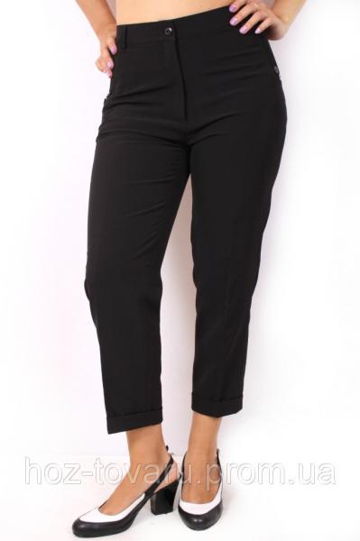 Брюки 7/8 черные, брюки женские большого размера недорого