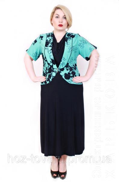 Платье большого размера бок драпировка ветка мята - Платья больших размеров на рынке Барабашова