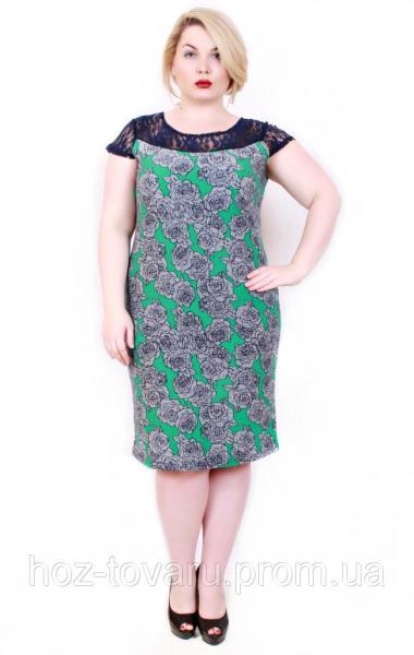 Платье большого размера Мария роза серая