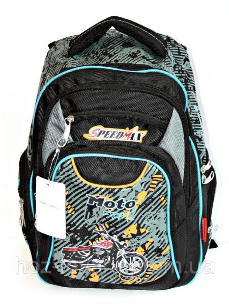 Рюкзак подростковый (школьный) Мото черн/голуб, рюкзак для школы, рюкзак для мальчика, дропшиппинг украина