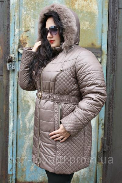Куртка зимняя Лиза опушка (2 цвета), куртка большого размера зимняя, курточка зимняя для полных, дропшиппинг