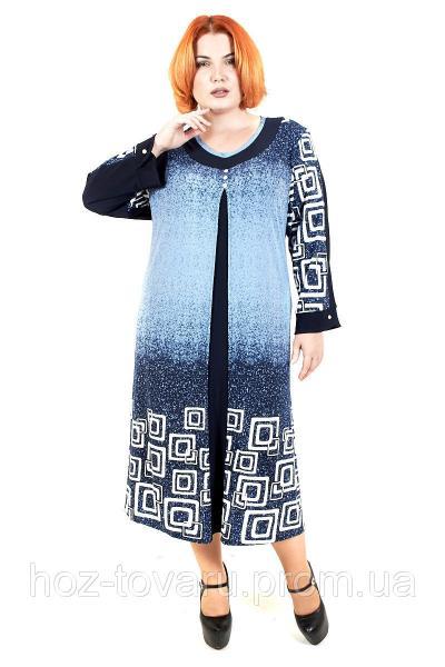 Платье большого размера Амбре квадраты, дропшиппинг украина, платье для полных, супербатал