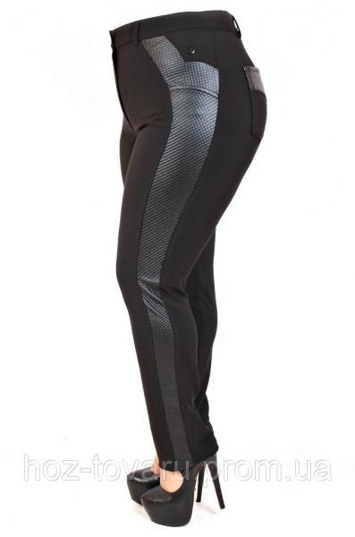 Брюки женские большого размера кожаный лампас, брюки с кожаной вставкой, черные женские брюки, дропшиппинг