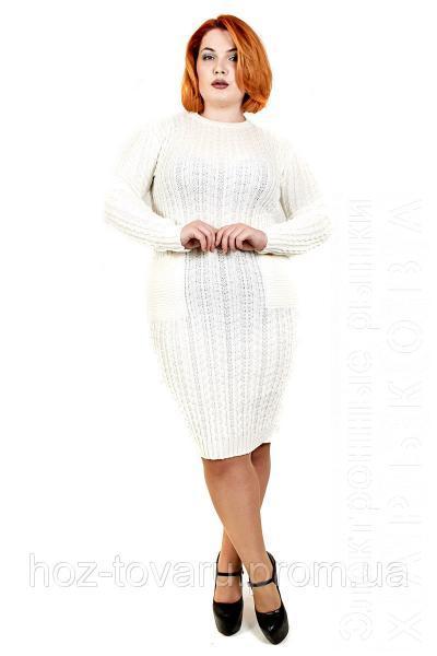 платье вязанное большого размера осень 2цвета вязаное платье для