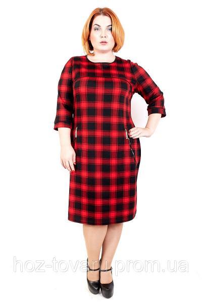 Платье большого размера Платье Волан Клетка красная, платье для полных, платье в клетку, дропшиппинг