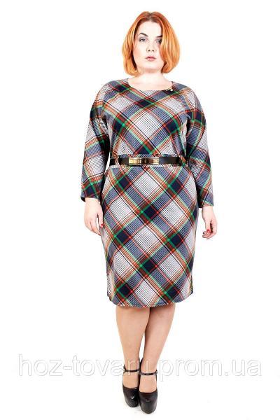 Платье большого размера Клетка оранж/зеленый, платье для полных, платье в клетку большого размера, дропшиппинг