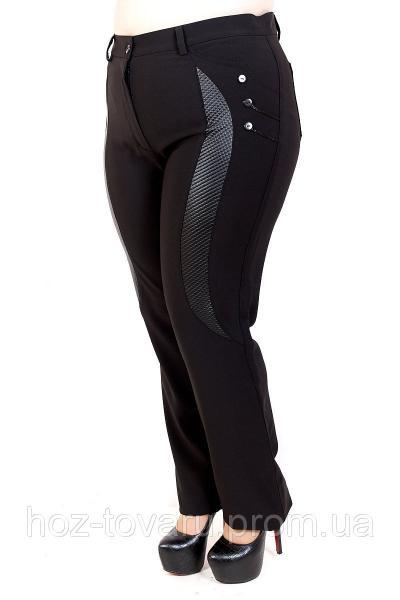 Брюки женские большого размера кожаная вставка/пуговица, комбинированные женские брюки, черные женские брюки