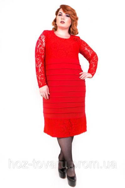 Платье большого размера Гусеница длинный рукав (4 цвета), гипюровое платье для полных