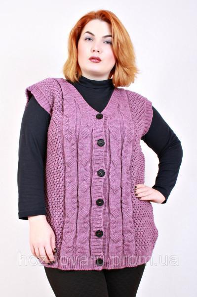 Жилет вязанный большого размера батал (3 цвета), вязанная жилетка большого размера, жилеты для полных женщин