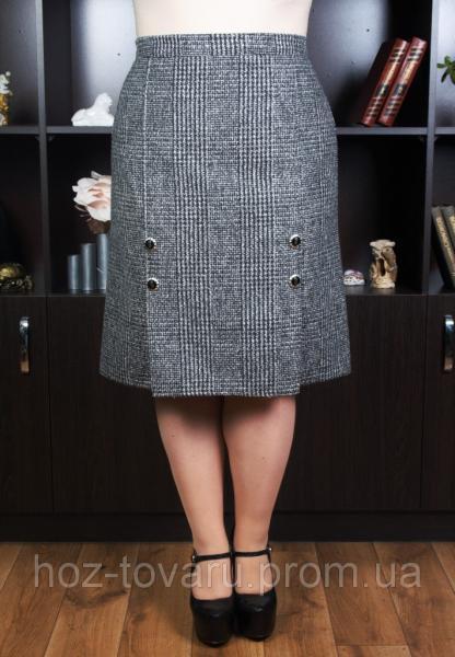 Юбка большого размера Драп серая, юбки для полных, драповая юбка, дропшиппинг