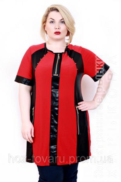5f4d8353b834 Туника большого размера Ната красная (4 цвета) - Блузки и туники женские на рынке  Барабашова