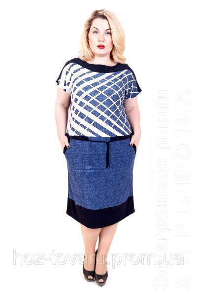 b33c0996559 Платье ниже колена большого размера Бабочка джинс сетка - Платья больших  размеров на рынке Барабашова