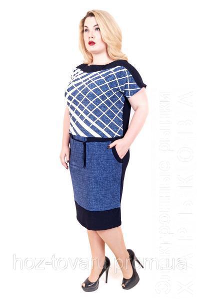 2a01492ea87 Платье ниже колена большого размера Бабочка джинс сетка - Платья больших  размеров на рынке Барабашова ...