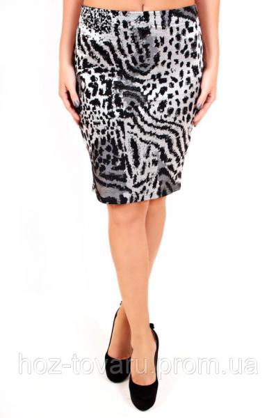 Юбка Джерси, юбка прямая, юбка до колена, леопардоваяю юбка, дропшиппинг