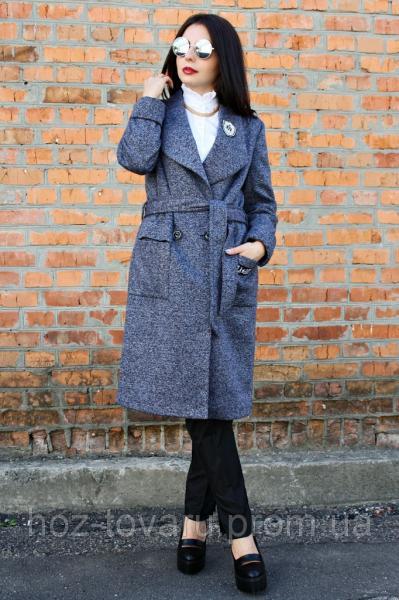 Женское демисезонное пальто Эмблема ворот меланж, женское пальто демисезонное,  дропшиппинг украина