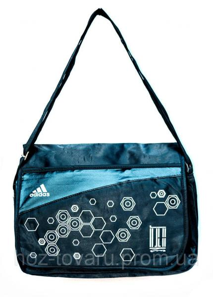 Сумка портфель адидас 8877 голубой принт, сумка универсальная, сумка для учебы, сумки недорого, дропшиппинг