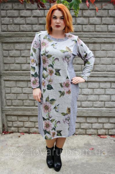 Платье большого размера Агава серый завиток, платье от производителя, платье для полных женщин, дропшиппинг