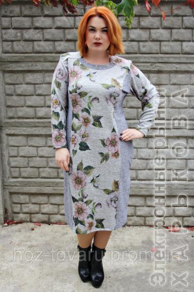 a5f7da5d5 Платье большого размера Агава серый завиток, платье от производителя, платье  для полных женщин,