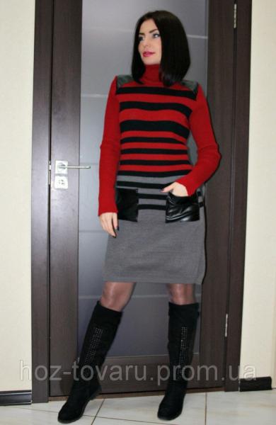 Платье вязанное Полоска кожа