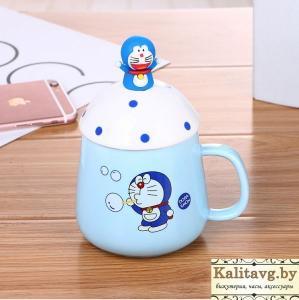 Фото  Чашка для мальчиков кот Doraemon с ложкой