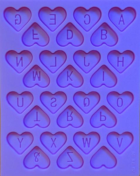 """""""Алфавит английский-сердечки"""" силиконовый молд"""