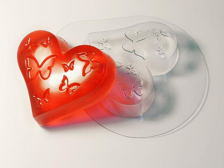 """Молд пластиковый """"Сердце с бабочками"""" для мыла"""