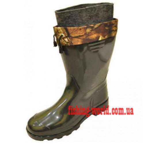 Фото Обувь для рыбаков и охотников Псковские резиновые сапоги с утепленным вкладышем и манжетой ПС 14 УТМ