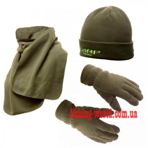Фото Одежда для рыбаков и охотников Набор флисовая шапка + шарф + рукавички Carp Pro