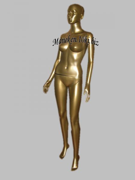 Манекен женский золотой в полный рост выдувная голова