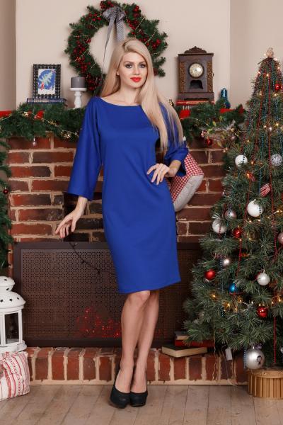 Платье -съемный воротник (ярко-синий)