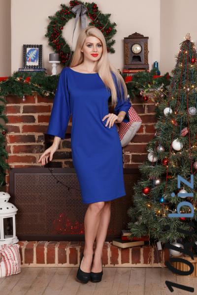 Платье -съемный воротник (ярко-синий) Платья с рукавами, теплые платья в Москве