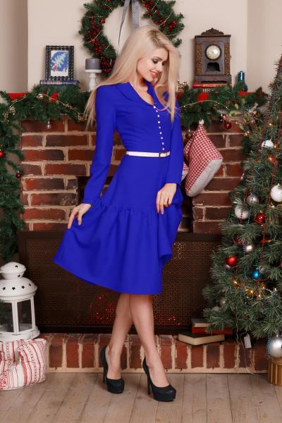 Платье с воротником шалька (ярко-синий)